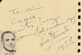 JOSE ITURBI - AUTOGRAPH NOTE SIGNED 1958 CO-SIGNED BY: CHARLES DRAKE