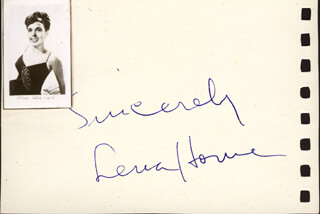 LENA HORNE - AUTOGRAPH SENTIMENT SIGNED CO-SIGNED BY: PEGGY MORAN