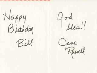 JANE RUSSELL - AUTOGRAPH NOTE SIGNED