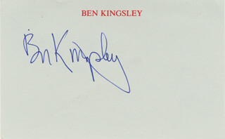 BEN KINGSLEY - PRINTED CARD SIGNED IN INK