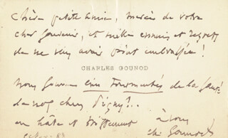 Autographs: CHARLES GOUNOD - AUTOGRAPH NOTE ON CALLING CARD SIGNED 11/05/1883