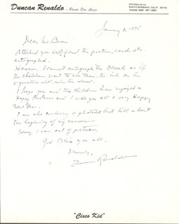 DUNCAN THE CISCO KID RENALDO - AUTOGRAPH LETTER SIGNED 01/06/1975