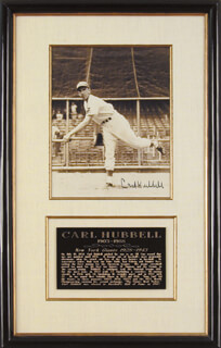 CARL HUBBELL - AUTOGRAPHED SIGNED PHOTOGRAPH  - HFSID 88944