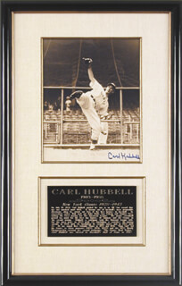 CARL HUBBELL - AUTOGRAPHED SIGNED PHOTOGRAPH  - HFSID 88945