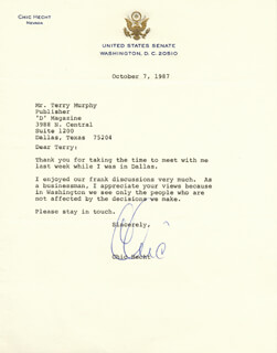 CHIC HECHT - TYPED LETTER SIGNED 10/07/1987