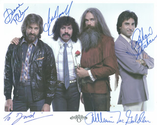 OAK RIDGE BOYS - AUTOGRAPHED INSCRIBED PHOTOGRAPH CO-SIGNED BY: OAK RIDGE BOYS (DUANE ALLEN), OAK RIDGE BOYS (JOE BONSALL), OAK RIDGE BOYS (RICH STERBAN), OAK RIDGE BOYS (WILLIAM LEE GOLDEN)