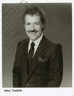 ALEX TREBEK - AUTOGRAPH NOTE ON PRINTED PHOTOGRAPH SIGNED IN INK