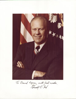 PRESIDENT GERALD R. FORD - INSCRIBED PHOTOGRAPH MOUNT SIGNED