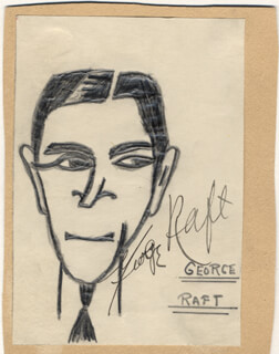 Autographs: GEORGE RAFT - SELF-CARICATURE SIGNED