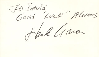 Autographs: HANK AARON - AUTOGRAPH NOTE SIGNED