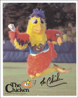 THE (TED GIANNOULAS) SAN DIEGO CHICKEN - AUTOGRAPHED SIGNED PHOTOGRAPH