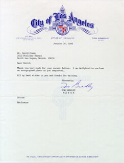 MAYOR TOM BRADLEY - TYPED LETTER SIGNED 01/30/1985