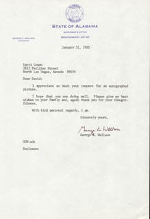 GEORGE C. WALLACE - TYPED LETTER SIGNED 01/31/1985