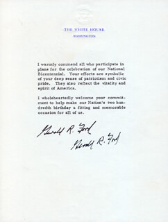 PRESIDENT GERALD R. FORD - TYPED NOTE SIGNED CIRCA 1976