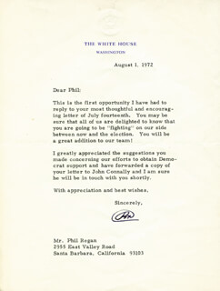 PRESIDENT RICHARD M. NIXON - TYPED LETTER SIGNED 08/01/1972