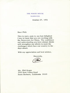 PRESIDENT RICHARD M. NIXON - TYPED LETTER SIGNED 10/27/1972