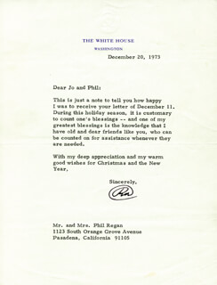 PRESIDENT RICHARD M. NIXON - TYPED LETTER SIGNED 12/20/1973