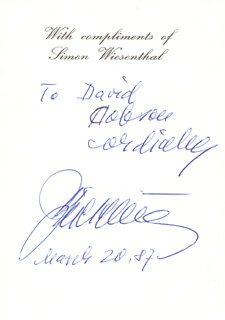 Autographs: SIMON WIESENTHAL - INSCRIBED SIGNATURE 03/20/1987