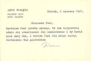 Autographs: PRESIDENT LECH WALESA (POLAND) - TYPED NOTE SIGNED 08/02/1987