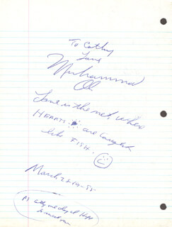 Autographs: MUHAMMAD THE GREATEST ALI - AUTOGRAPH NOTE SIGNED 03/28/1988