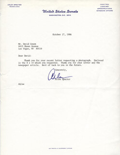 ARLEN SPECTER - TYPED LETTER SIGNED 10/27/1986