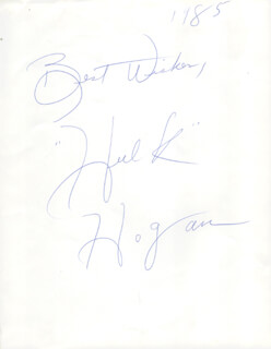 Autographs: HULK HOGAN - PHOTOGRAPH SIGNED 1985