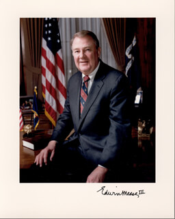 Autographs: EDWIN MEESE III - PHOTOGRAPH SIGNED