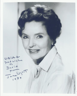 JANE WYATT - AUTOGRAPHED INSCRIBED PHOTOGRAPH 1987