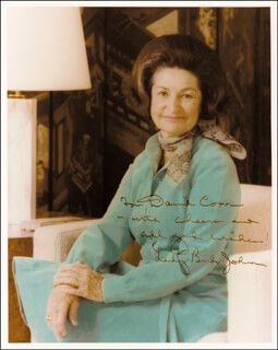 FIRST LADY LADY BIRD JOHNSON - AUTOGRAPHED INSCRIBED PHOTOGRAPH  - HFSID 89238