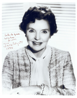 JANE WYATT - AUTOGRAPHED SIGNED PHOTOGRAPH 1986
