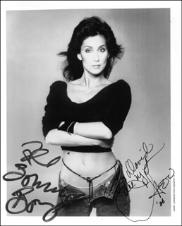 CHER - AUTOGRAPHED INSCRIBED PHOTOGRAPH 1986 CO-SIGNED BY: SONNY BONO
