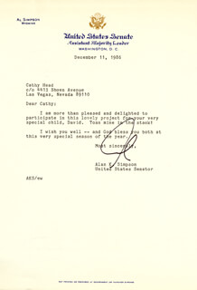 ALAN K. SIMPSON - TYPED LETTER SIGNED 12/11/1986