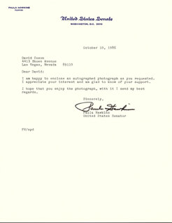 PAULA FICKES HAWKINS - TYPED LETTER SIGNED 10/10/1986