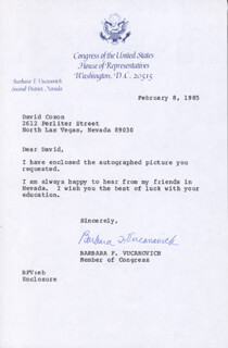 BARBARA VUCANOVICH - TYPED LETTER SIGNED 02/08/1985