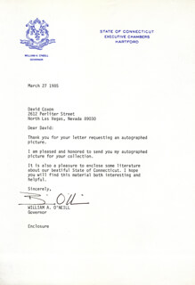 WILLIAM A. BILL O'NEILL - TYPED LETTER SIGNED 03/27/1985