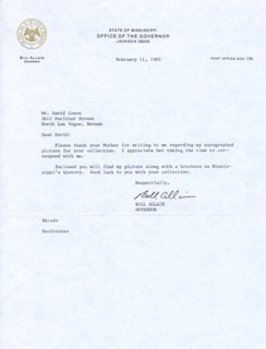 Autographs: WILLIAM A. BILL ALLAIN - TYPED LETTER SIGNED 02/11/1985