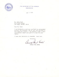 DONALD PAUL HODEL - TYPED LETTER SIGNED 10/10/1986