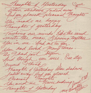 PETE ALLMAN - INSCRIBED AUTOGRAPH POEM SIGNED 06/23/1981