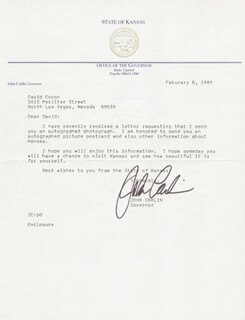 GOVERNOR JOHN CARLIN - TYPED LETTER SIGNED 02/08/1985