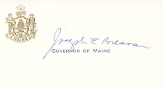 JOSEPH E. BRENNAN - PRINTED CARD SIGNED IN INK
