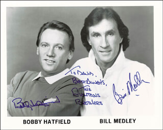 THE RIGHTEOUS BROTHERS - AUTOGRAPHED SIGNED PHOTOGRAPH CO-SIGNED BY: THE RIGHTEOUS BROTHERS (BILL MEDLEY), THE RIGHTEOUS BROTHERS (BOBBY HATFIELD)