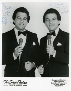 THE SACCA TWINS - INSCRIBED PRINTED PHOTOGRAPH SIGNED IN INK 1985 CO-SIGNED BY: TONY SACCA, ROBERT SACCA