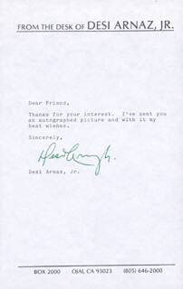 DESI ARNAZ JR. - TYPED NOTE SIGNED