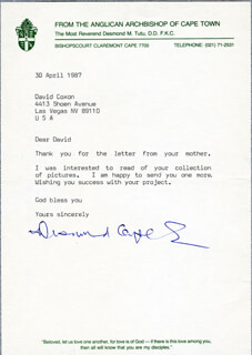 BISHOP DESMOND TUTU - TYPED LETTER SIGNED 04/30/1987