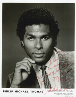 PHILIP MICHAEL THOMAS - AUTOGRAPHED INSCRIBED PHOTOGRAPH 04/18/1985