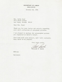 Autographs: WILLIAM E. BILL BROCK III - TYPED LETTER SIGNED 10/28/1986