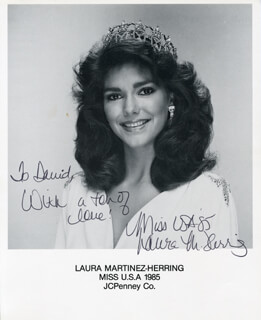 LAURA (LAURA MARTINEZ-HERRING) HARRING - AUTOGRAPH NOTE ON PRINTED PHOTOGRAPH SIGNED IN INK