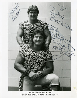 THE MIDNIGHT ROCKERS - AUTOGRAPHED INSCRIBED PHOTOGRAPH CO-SIGNED BY: MIDNIGHT ROCKERS (SHAWN MICHAELS), MIDNIGHT ROCKERS (MARTY JANNETTY)