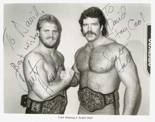 Autographs: CURT HENNIG - INSCRIBED PHOTOGRAPH SIGNED CO-SIGNED BY: SCOTT HALL
