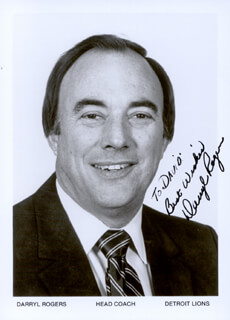 DARRYL ROGERS - AUTOGRAPHED INSCRIBED PHOTOGRAPH